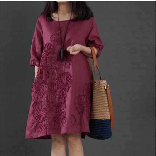 2015 Casual Women Summer Loose Sleeve White Dress Female Embroidered Soft Comfortable Cotton Linen Dress to income Plus Size Y6(China (Mainland))