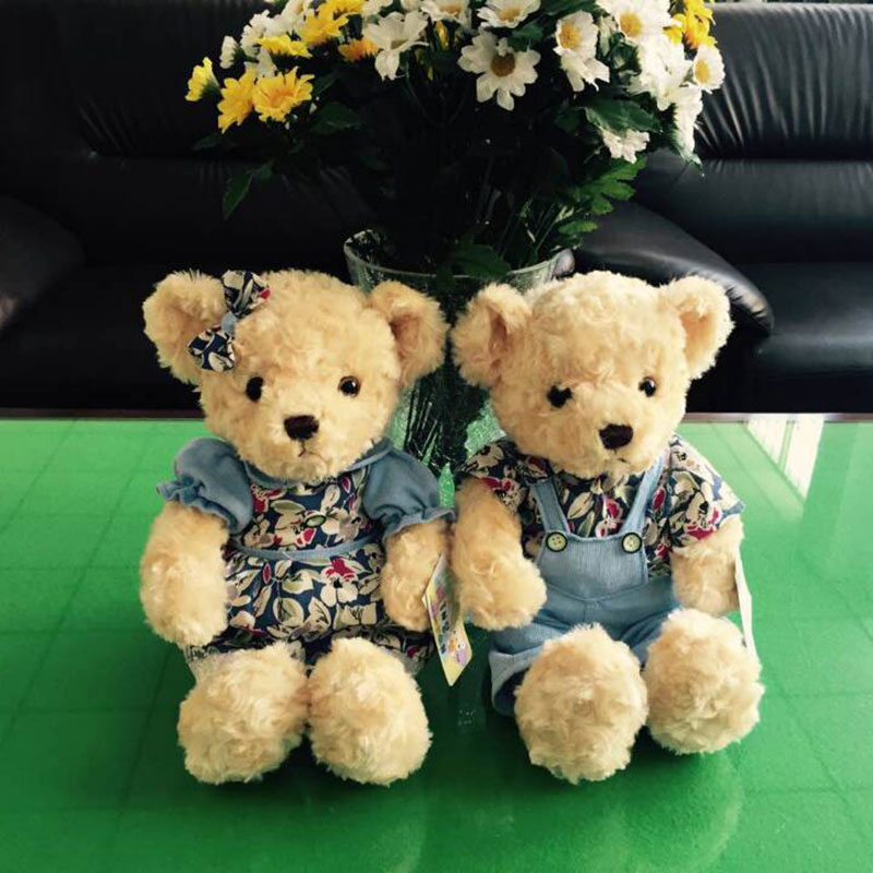 2PCS Valentine Teddy Bear Plush Toys Stuffed Couple Bears Soft Dolls Toy for Children Girls Gifts Collection(China (Mainland))
