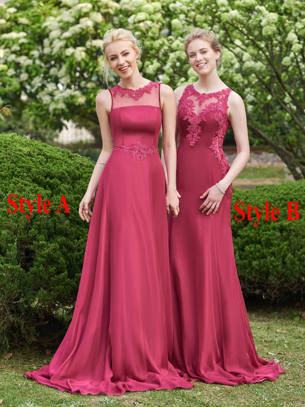 Two Styles Burgundy Bridesmaid Dress 2017 Sheer Neck
