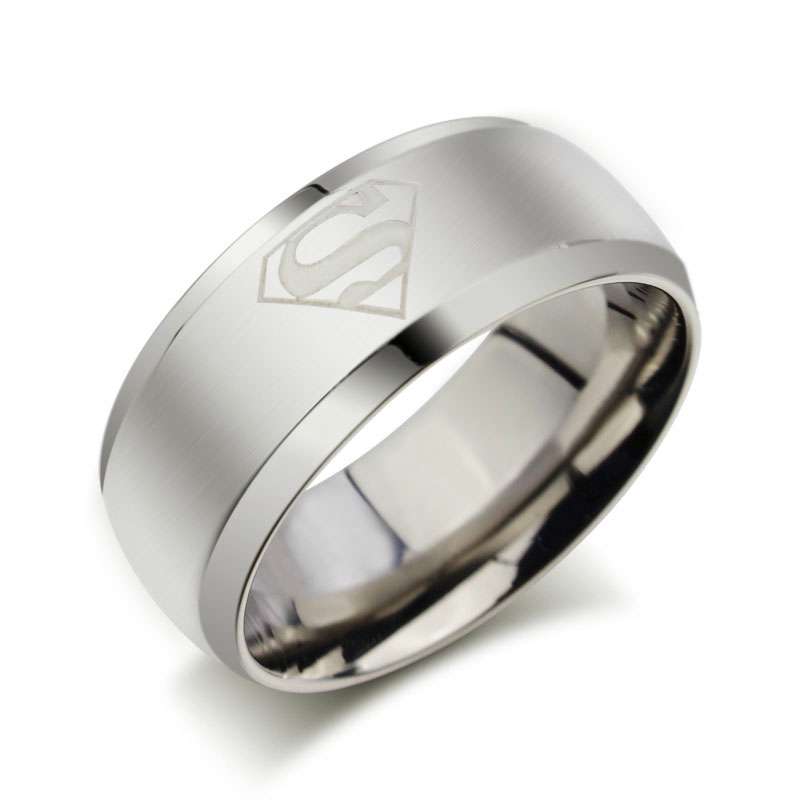 2018 2016 New Fashion Silver Superman Ring Multicolor 8mm Stainless