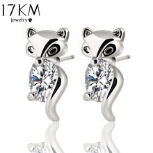 Buy 17KM Classic Animal Fox Stud Earrings Alloy Silver Color Crystal Earring Fashion Gold Color Jewelry Brand Design Party Women for $1.29 in AliExpress store