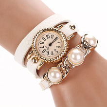 Women Dress Watches Pearl Leather Wristwatches Winner Bracelet Luxury Rose Gold Relogio Feminino Top Brand Pink