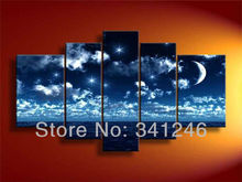 Hand-painted Hi-Q modern wall art home decor seascape oil painting on canvas Ocean Stars Moon in the night sky 5pcs/set framed(China (Mainland))