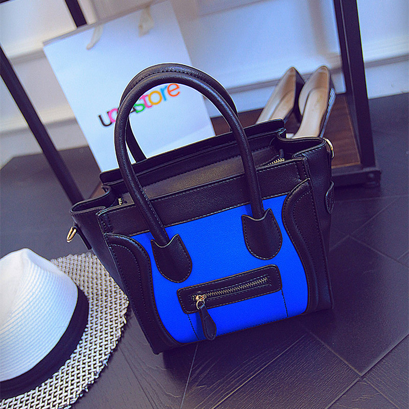 Womens Designer Black & Navy Gray Leather Handbag Shoulder Messagner Bag Smile Celebrity Tote(China (Mainland))