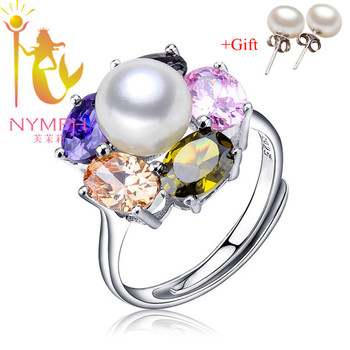 Colorful NYMPH pearl jewelry rings natural freshwater pearl trendy Engagement sterling silver jewelry rings fine gift [xy001]
