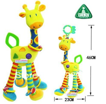 ELC infant toy rattles ultra long (46cm) hanging giraffe baby stuffed animals plush rattle bed bells toys