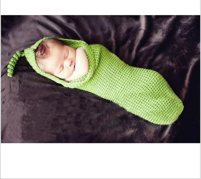 Бесплатная доставка ручной работы крючком прекрасный новорожденный ребенок зеленый спальный мешок кокон опора 0 - 3 м