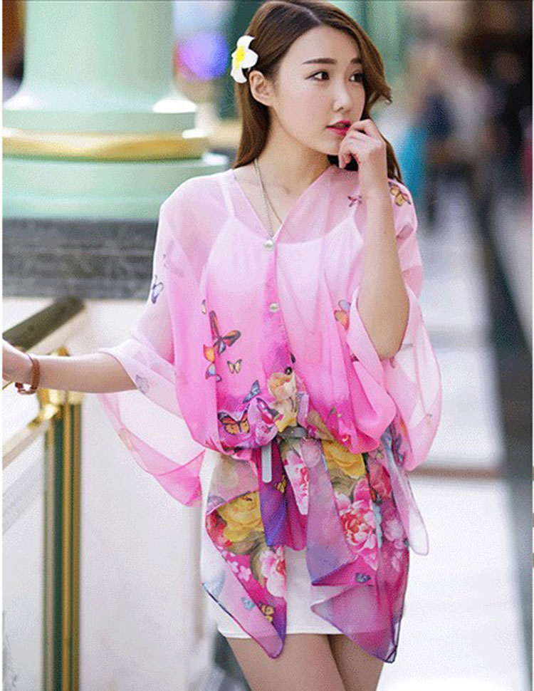 Textile arts and crafts The new scarf Printed chiffon beach towels Butterfly flower silk scarves cycling shade sunscreen shawl(China (Mainland))