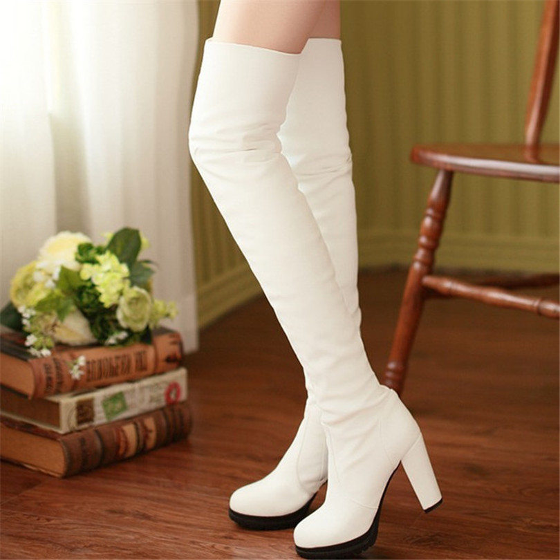Fashion Style Ms. Oversized Black White Suede Platform Thigh Legs High Heeled Knee Boots Zipper Women Size 34-39 - Savvy shoes store