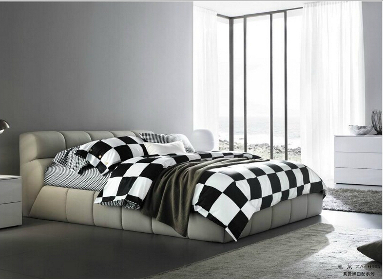 Full Queen 100 Cotton Fitted Sheet 3d Black White Plaid Cheap Comforter Sets