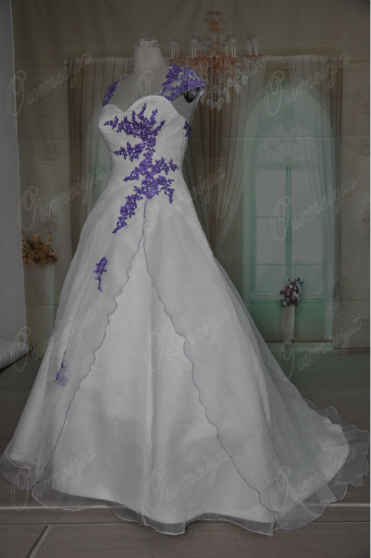 Buy orw295 oumeiya removable sleeves for Purple and ivory wedding dress