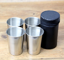 New Arrival 180ml Drinking Cup Set 4 Cups & 1 Bag Stainless Steel Cups Outdoor Water Cup Easy to Carry Drop Shipping