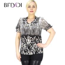 BFDADI 2016 Поступила Новая Мода женские Рубашки Элегантный Воланами Повседневная Формальные Коротким Рукавом Блузки Плюс Размер 5XL 6251(China (Mainland))