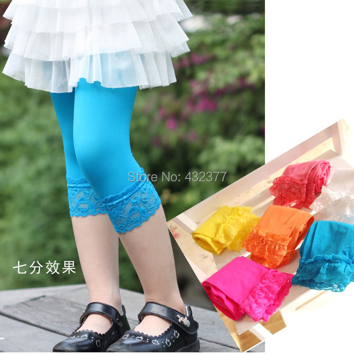 Retail Candy Color Velvet Children Girl leggings with lace flowers Baby Girl pants for 3 8