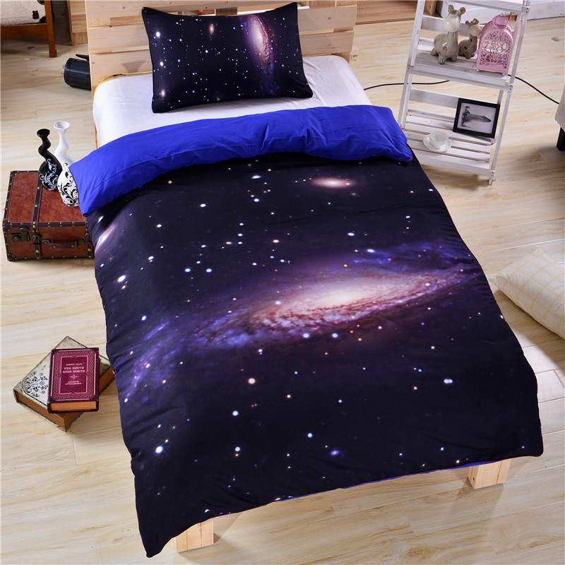 Hipster Galaxy Bedding Set Universe Outer Space Themed Galaxy Print Bedlinen Sheets Twin Single Double Full Cheap Hot(China (Mainland))