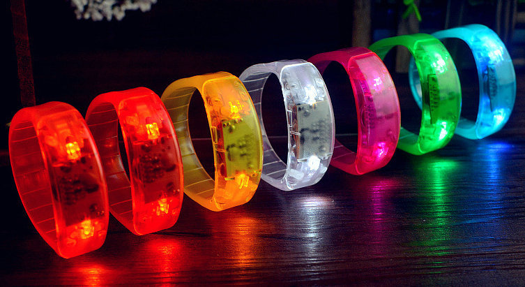 Hot Voice Activated Sound Control Led Flashing Bracelet Light Up Bangle Wristband Night Club Activity Party Bar Disco Cheer Gift(China (Mainland))