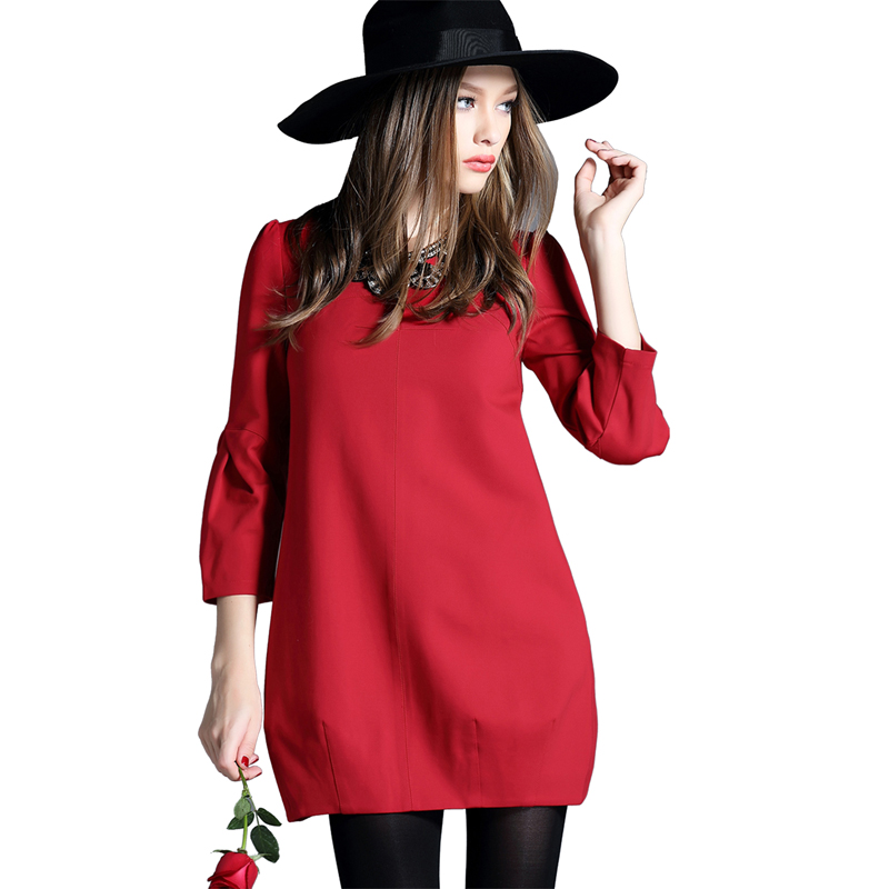 2015 Autumn Winter Casual Fashion Warm Dress Plus Size ...