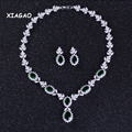 XIAGAO Wedding Evening Party Jewelry Luxury Cubic Zirconia Crystal Green Necklace and Earrings Jewelry Set For