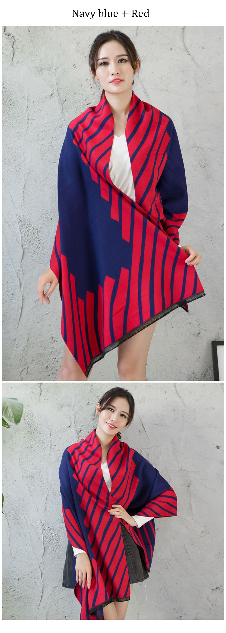 2016 fashion brand cashmere scarf women striped tassel design Scarves winter thick warm shawl Pashmina cachecol echarpe cape