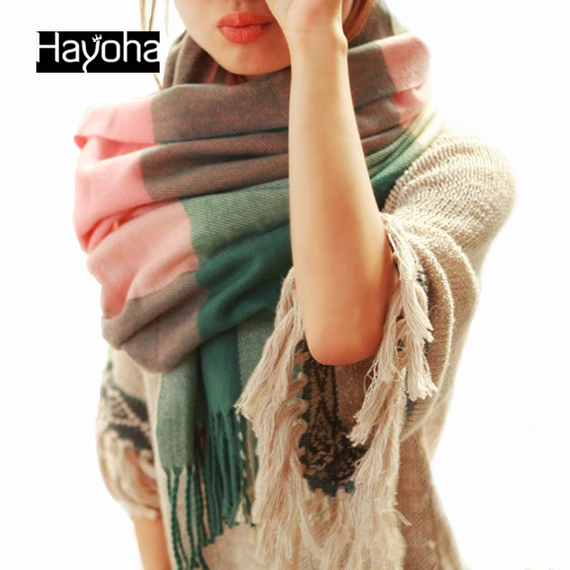 190*60CM Fashion Wool Winter Scarf Women Bandana Plaid Thick Cachecol Brand Shawls and Scarves for Women(China (Mainland))