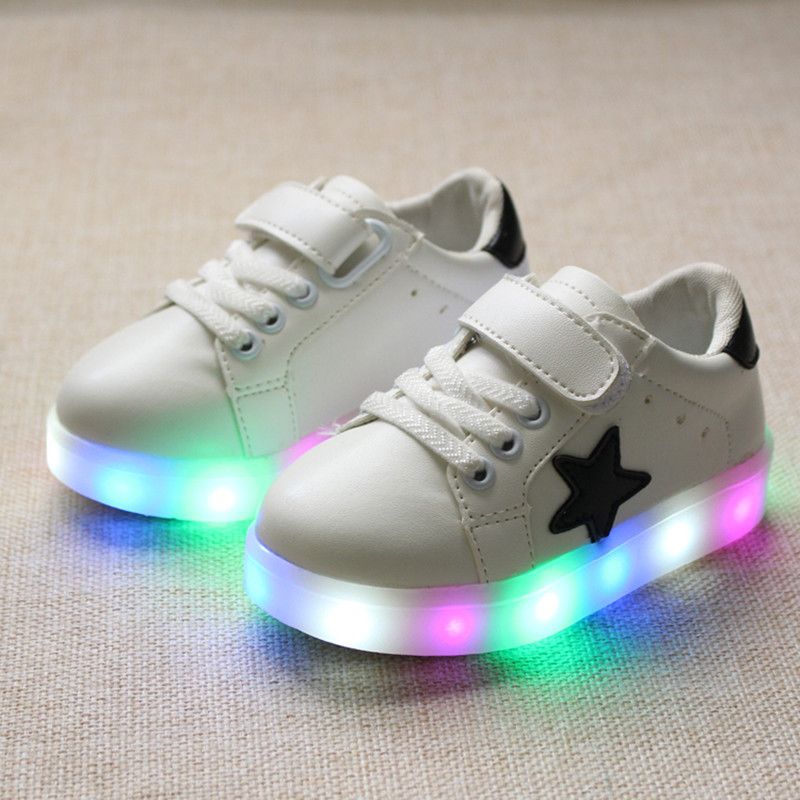 Kids Shoes With Light Boys Sneakers 2016 New Autumn Led Bright Fashion Sport Baby Girls Shoes Kids Stars Color Led Shoes For Boy(China (Mainland))