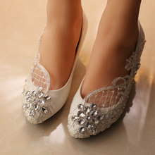 free shipping white wedding shoes office shoes bridesmaid/bridal shoes rhinestone lace shoes high heels women pumps(China (Mainland))
