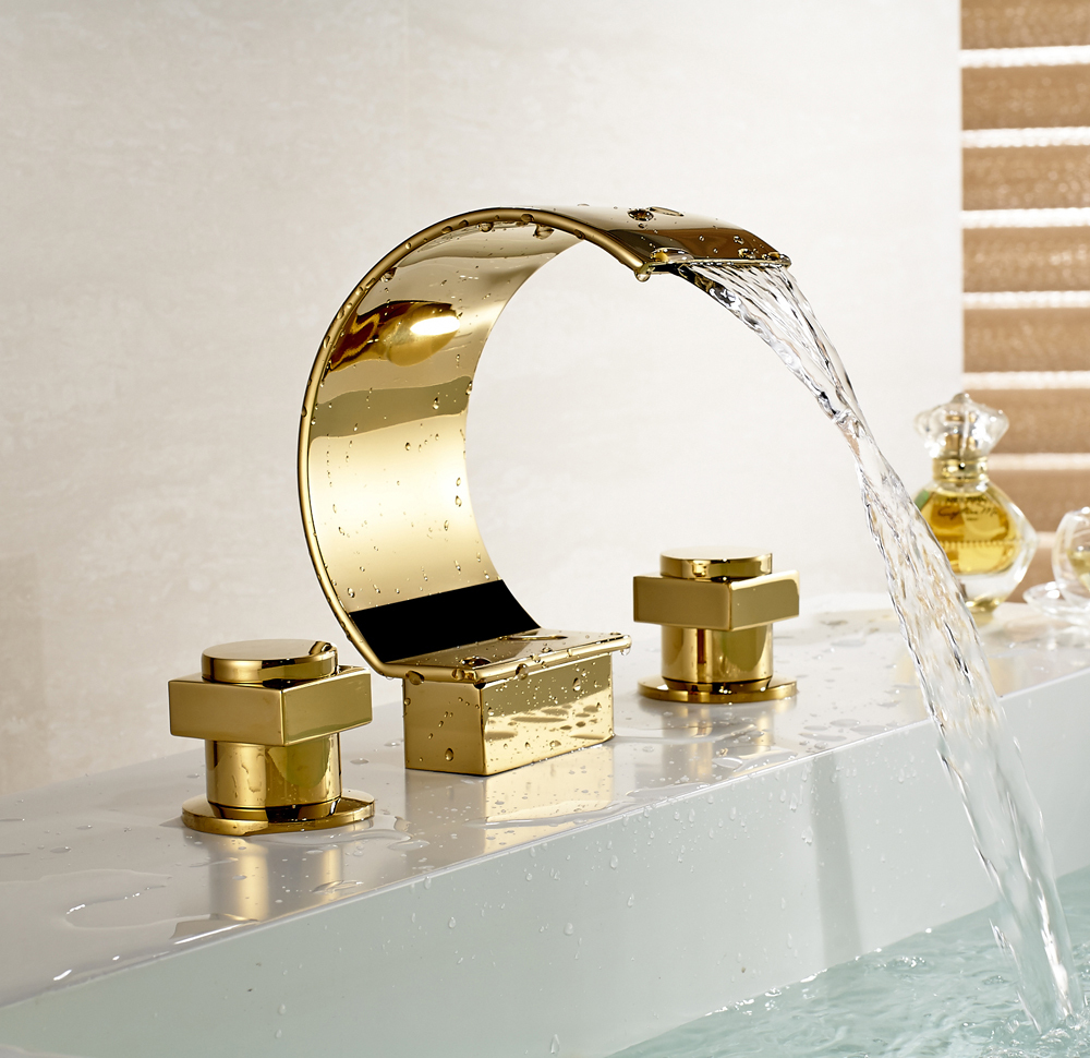 Widespread 3 holes waterfall basin faucet gold finish for Gold bathroom sink taps