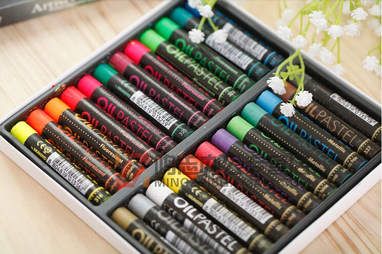 LZ round Mungyo 24 colors coarse neon color and metal color mixture artists oil pastels painting stick crayons set 70X11mm<br><br>Aliexpress