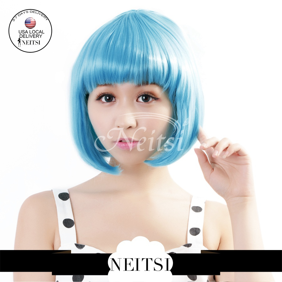 """Neitsi 14"""" Synthetic Hair Cosplay Bob Wigs 1pc Light Blue Color Short Lolita Wig Straight Fast Shipping(China (Mainland))"""