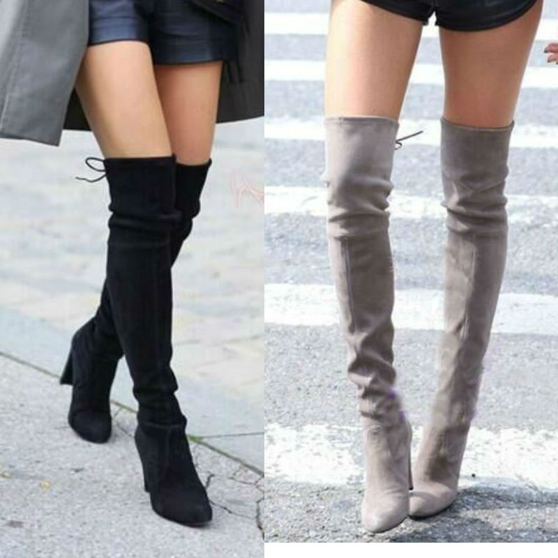 women faux suede thigh high boots over the knee boots. Black Bedroom Furniture Sets. Home Design Ideas
