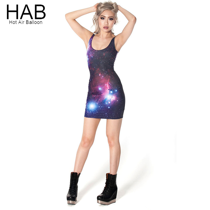 HAB 2015 Fashion Summer Style Casual Dress Sleeveless Tank 3D Galaxy Print Sexy Clubwear Vestidos Femininos Short Mini Dresses(China (Mainland))