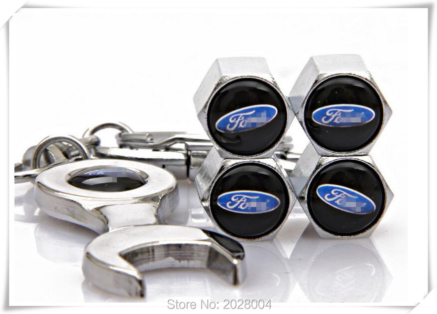 Car Styling Auto Car Emblem Wheel 4Pcs Tire Valves Caps+Wrench Key Ring For Ford/Focus/Mondeo/sharp boundary/success/Carnival(China (Mainland))