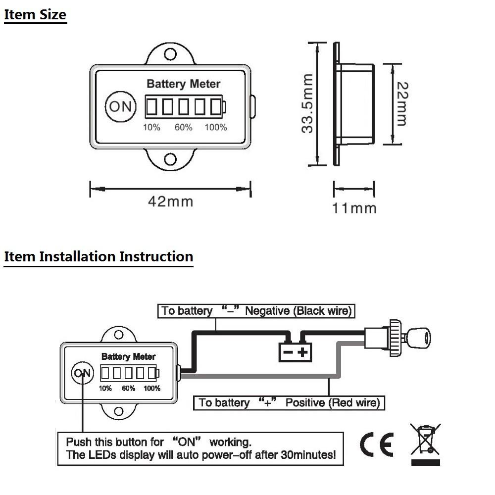 12 24 volt mini battery gauge 5led battery meter indicator for car rh motorcycle shop4express com