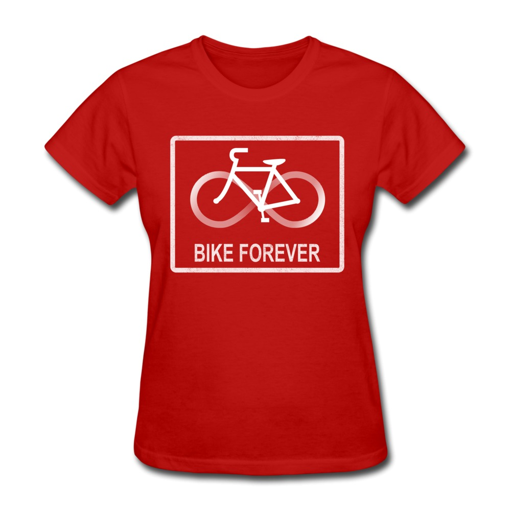 Top Brand Bike Forever t-shirt geek o-collar women'sidea tee-shirt for Ladies(China (Mainland))