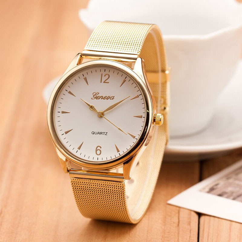 Fashion montre femme 2015 relogio geneva Watch Women Classic Gold Quartz Watch Stainless Steel Full Steel Wrist Watch