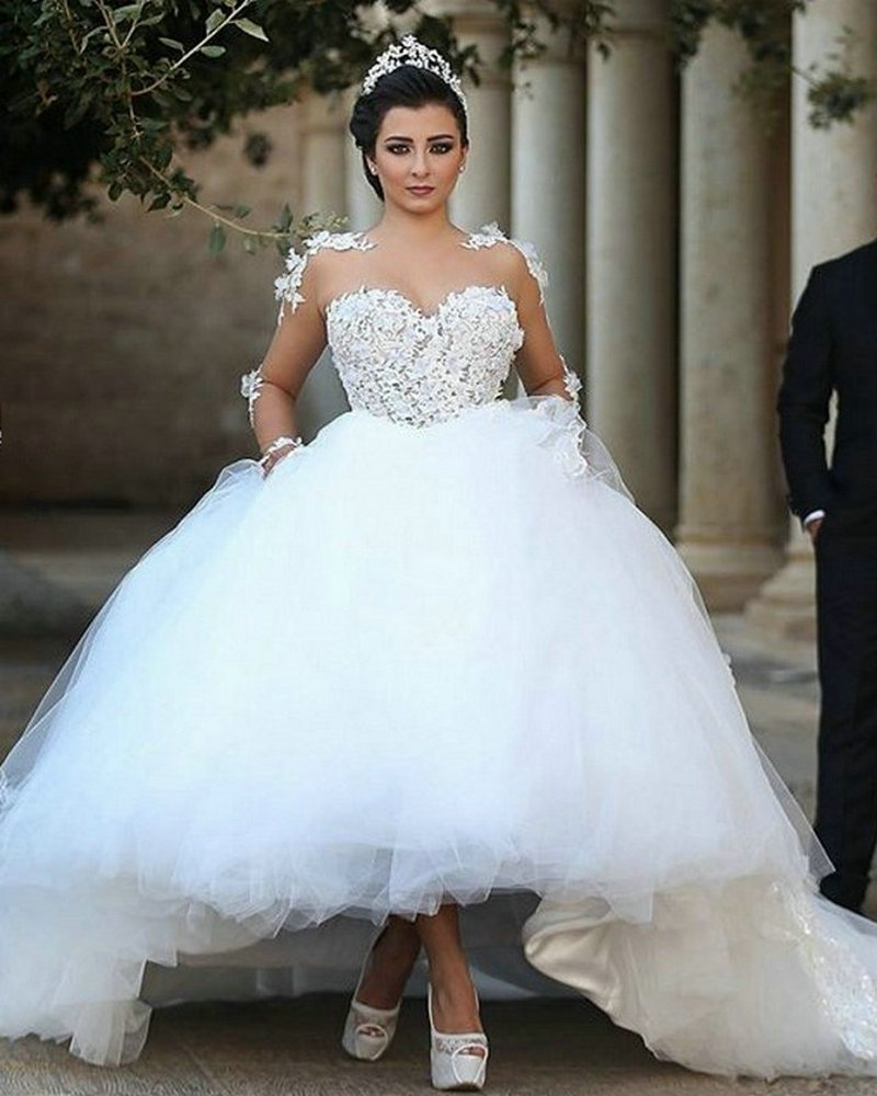 Ball Gown Wedding Dresses With Long Sleeves : Long sleeves wedding dress lace appliques said mhamad ball gown