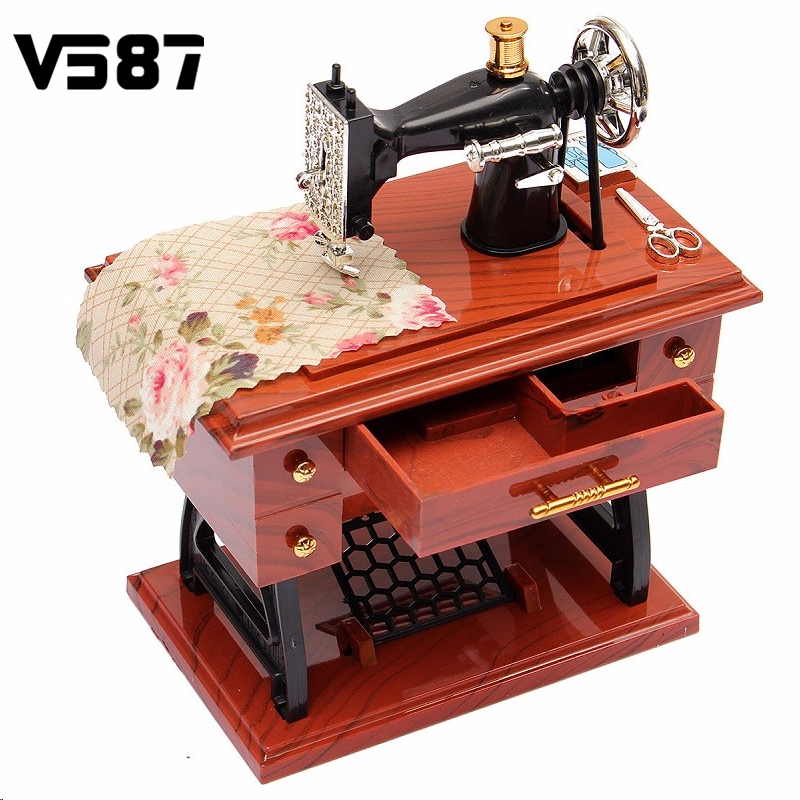 Vintage Lockwork Sewing Machine Music Box Kid Toy Treadle Sartorius Toys Retro Birthday Gift Home Decor(China (Mainland))