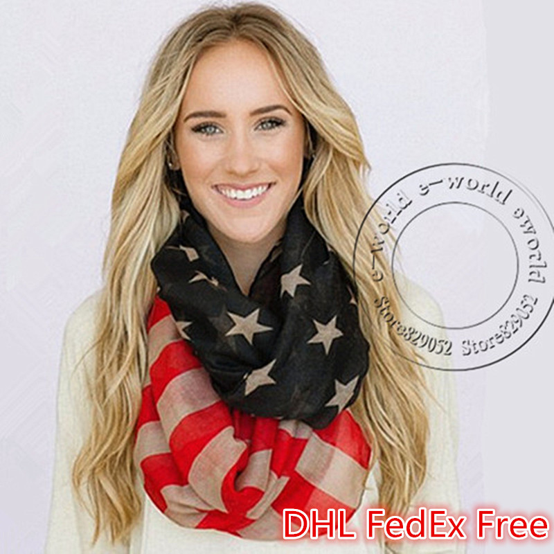 DHL Free 50pcs Vintage American Flag Scarf USA Flags Infinity Scarves 4th of July Pashmina Shawls Hijab Girls Accessories A0499(China (Mainland))