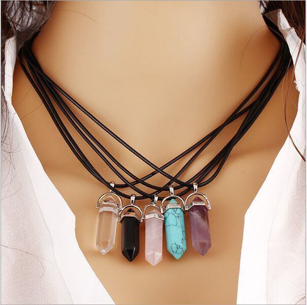 Fashion Jewelry Hexagonal Column Necklace Natural Quartz turquoise Agate Amethyst Stone Pendant Necklace Valentine's Day Gifts(China (Mainland))