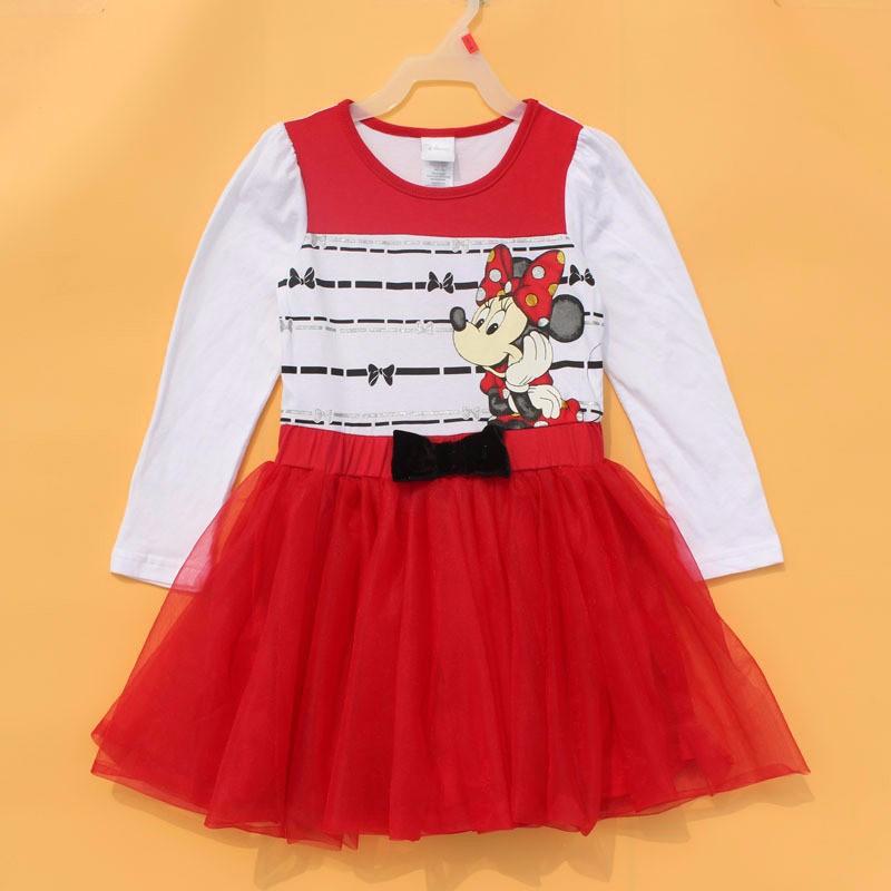 original brand, 6 pieces/lot The Latest 4-6X Girls Princess dress Minnie autumn long sleeve dress<br><br>Aliexpress