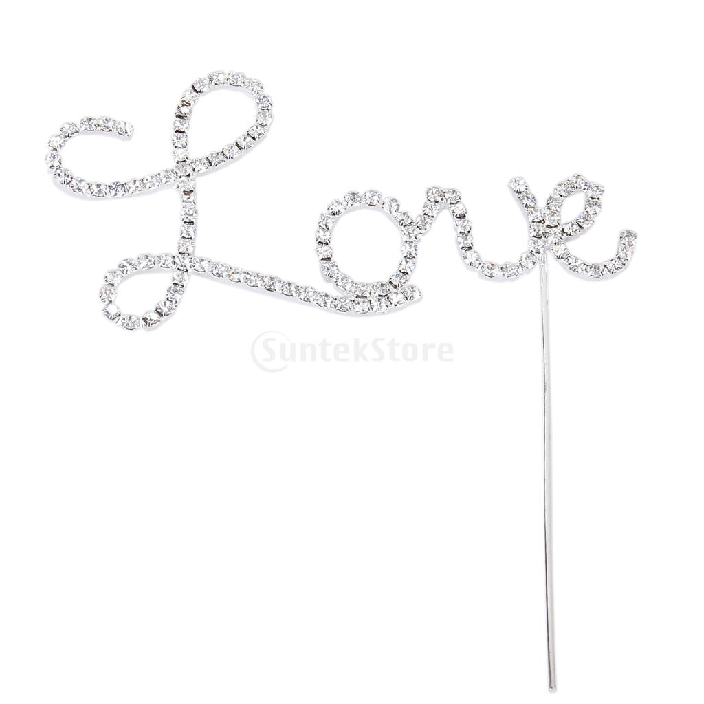 New 2014 Brand New Crystal Rhinestone Letter Love Cake Topper Wedding Decoration Free Shipping(China (Mainland))