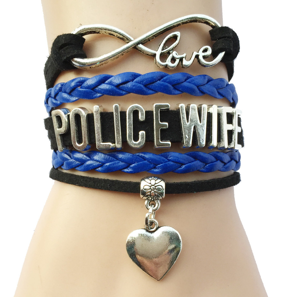 Infinity Love Police Wife Mom Bracelet Heart Charm Leather Braided Velvet Department Career Bracelet Bangle