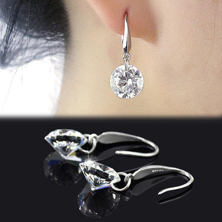 Гаджет  New Arrival Women Fashion Jewelry 8mm Crystal Decoration 925 Silver Plated Earrings One Pair Free Shipping EAR-0279-SV None Ювелирные изделия и часы