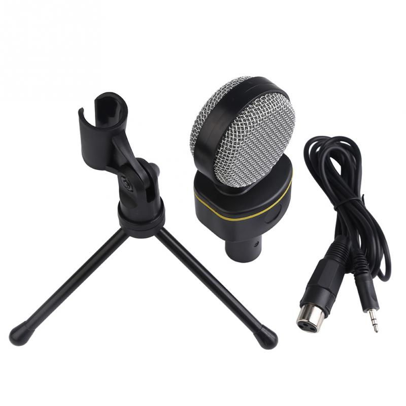 Wired Computer Microphone Small Round 3.5mm Mic with Tripod Stand for PC Laptop Notebook(China (Mainland))