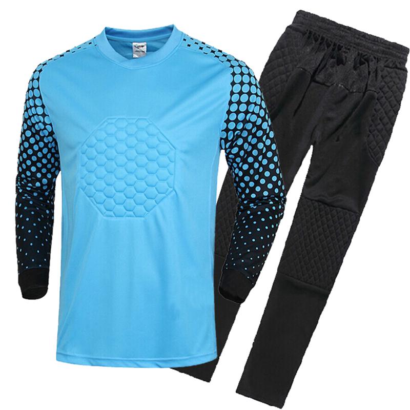 2015/16 new kids soccer goalkeeper jersey set men's sponge football long sleeve goal keeper uniforms goalie sport training suit(China (Mainland))