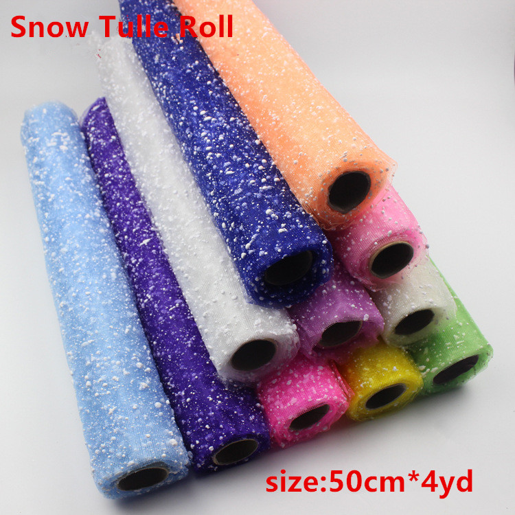 Snowflake Tulle Roll 50cm 4YD Roll Fabric Spool Tutu Party Birthday Gift Wrap Wedding Events Decorative Crafts Festive Supplies(China (Mainland))