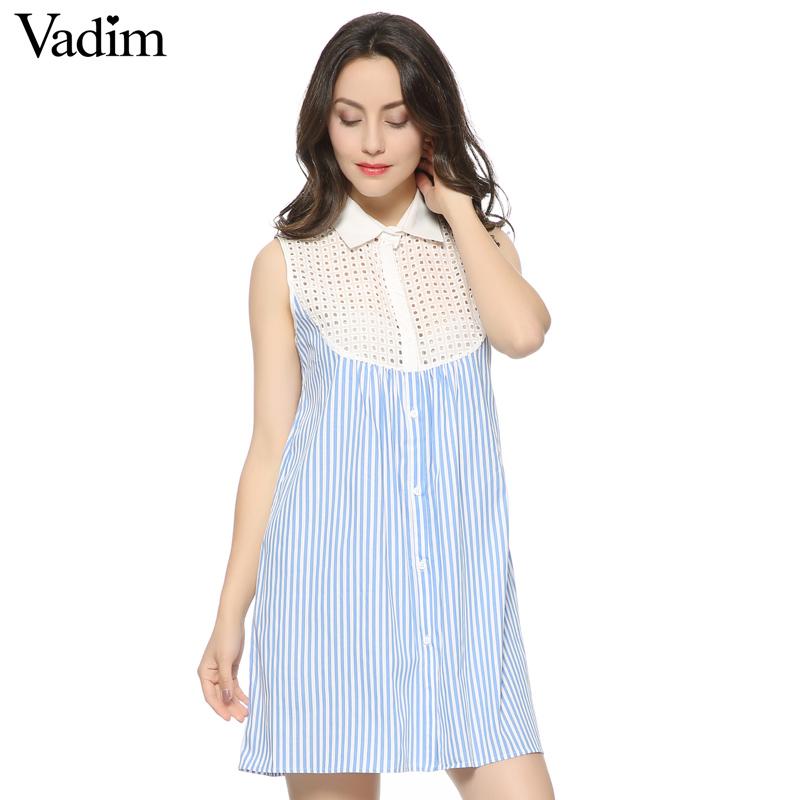 Fashion Ladies' Elegant Striped print lace hollow Dress sexy vintage sleeveless casual slim brand dress QZ1943