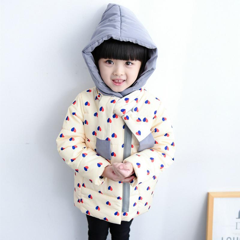 Winter Female Coat Child Princess Magic Hat Thickening Outerwear Child Heart Printed Cotton-Padded Jacket Wadded(China (Mainland))