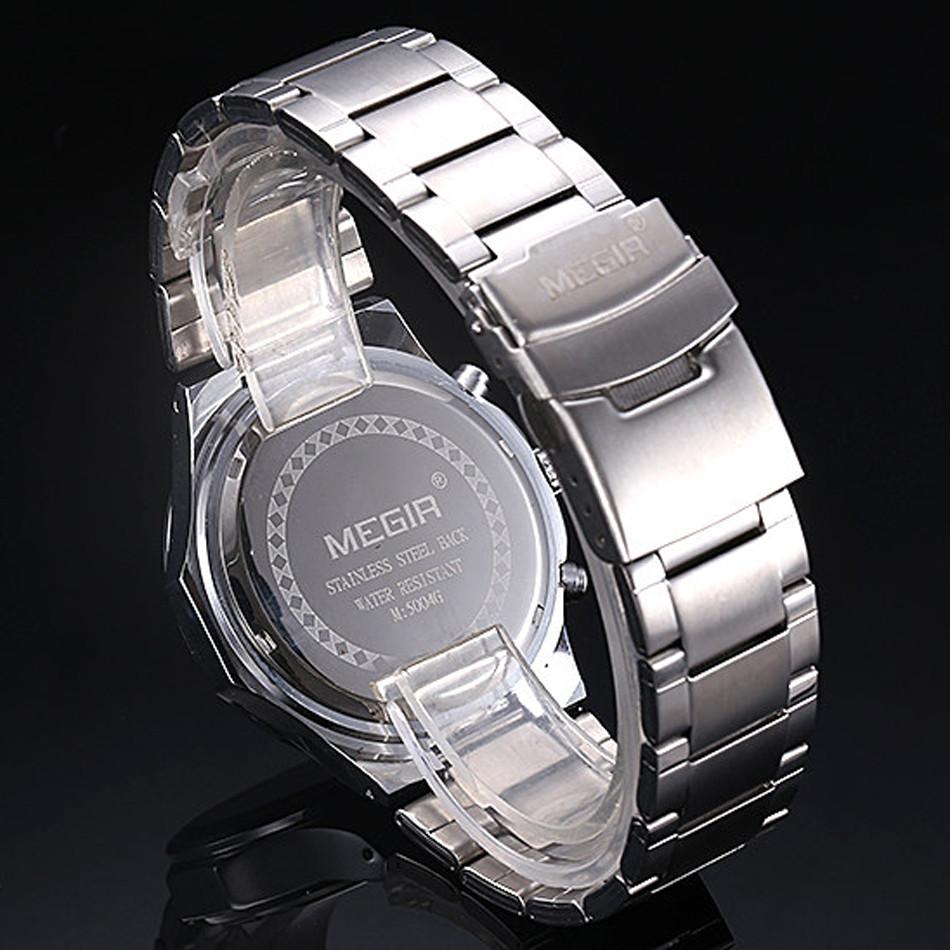 MEGIR Хронограф Спортивные Часы Полный Сталь Ремешок Relogio Часы Шарм Мужчины Многофункциональный Водонепроницаемый Кварцевые Наручные Часы