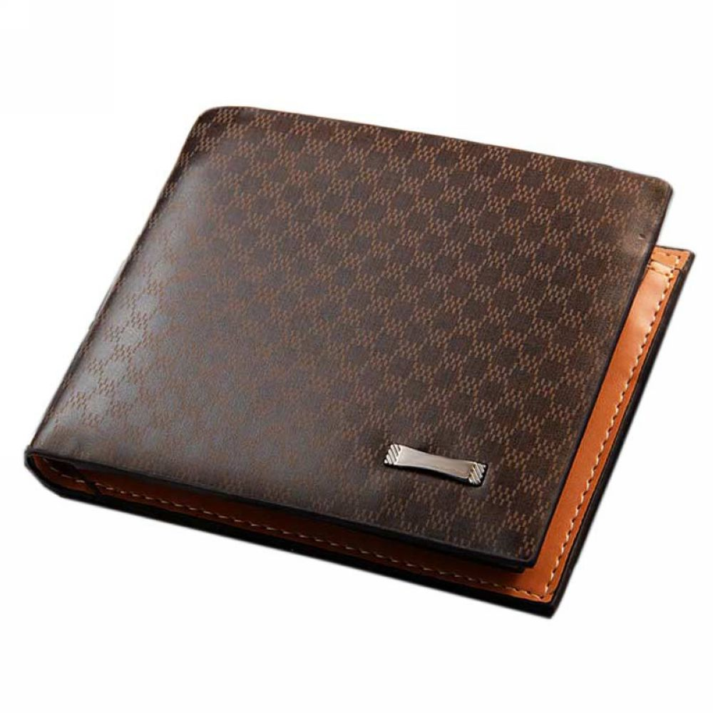 Local Stock, Fashion Plaid Genuine Leather Wallet Men Luxury Business Bifold Men Wallets Purse Money Bag Male Y57*M096#S7(China (Mainland))